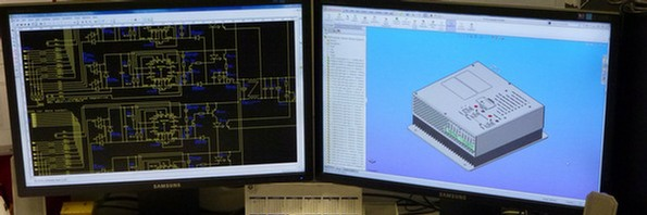 Transpower computer screen showing pcb design and solidworks model